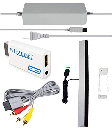SSIOIZZ 4 in 1 Wii Replacement Cables Set, Wii AC Power Adapter + Wii to hdmi Converter+ Wired Motion Sensor Bar and Composite Audio Video Cable for Nintendo Wii