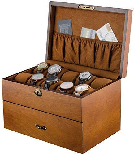 NBVCX Wohnaccessoires Große Holzuhrbox mit weichen Kissen Schmuck Display Collection Aufbewahrungskoffer Armbanduhren Armband Tablett Vitrine Organizer für Männer und Frauen
