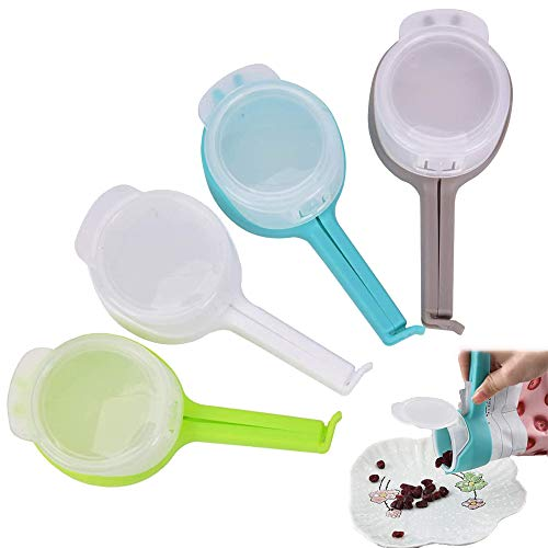 Dichtungsclips, Kunststoff Verschließen Tüte Clips Seal Pour Food Storage Bag Clip, Moistureproof Seal Spout Tool für Lebensmittel und Snacks Lagerung, 4Pcs