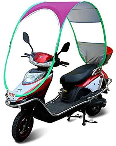 General Universal Bicycle Electric Paraguas Impermeable Plegable Completamente Cerrado, Canopy para Motocicleta Moto Techo Motor Bicicleta Visera Parasol Sombra Tienda Carpa Parabrisas, Rosa
