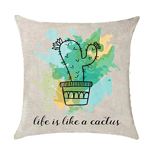 Plant Life is Like A Cactus Green Oil Painting Polyester Linen Throw Pillow Covers Case Cushion Cover Sofa Decorative Square 18x18 inch Decorative Pillow Wedding Birthday