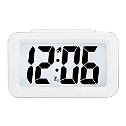 HENSE Creative Smart Nightlight Alarm Clock Bedside Desk Table Electronic Clock Battery Operated Mute Luminous Alarm Clock with Adjustable Light for Kids Students HA35 (White)
