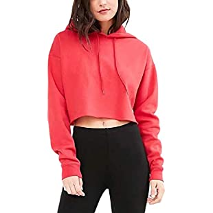 Yisaesa Women's Hoodie Crop Tops Long Sleeve Solid Color Pullover Sweatshirt (Color  Red, Size  Medium)