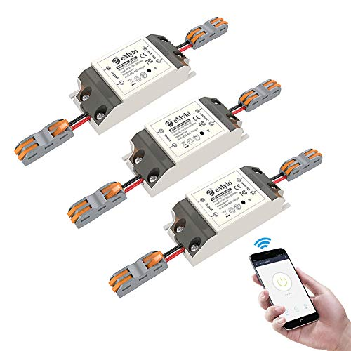 Smart WiFi Switchs Wireless Relay Control remoto eMylo Light Switch Module Temporizador de salida de Smart Home Automation Compatible con Alexa, Google Home a través de iPhone Android 3 paquetes