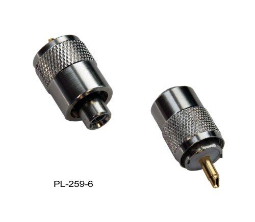 Spartechnik PL-Stecker: Stecker PL 259/6 für RG-58U, RG-58 Koaxkabel mit Goldpin für UKW/VHF Antennen für Seefunk oder Binnenfunk