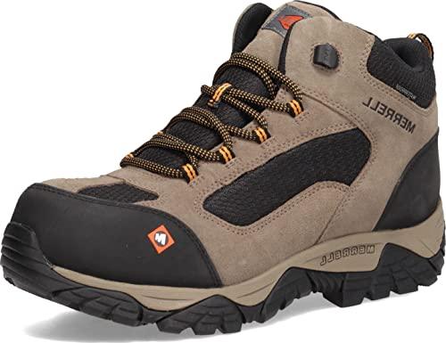 Merrell Work Men's Moab Onset Mid Waterproof Comp Toe Walnut Work Boots, 14 Wide