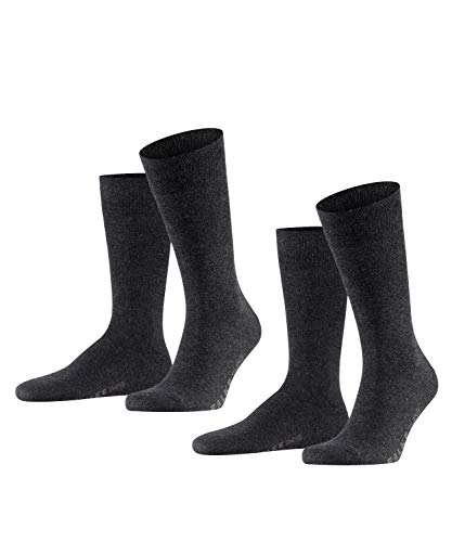 FALKE Herren Swing 2-Pack M SO Socken, Blickdicht, Grau (Anthracite Melange 3080), 43-46 (2er Pack)