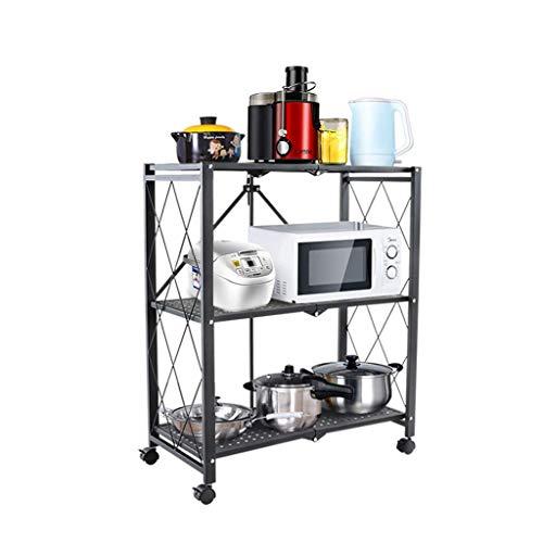 QAQA 3-Tier Metal Storage Shelving Units, Foldable Storage Shelves With Wheels, Storage Shelves for Pantry Closet Kitchen Laundry, Black (Color : Black, Size : 71.5 * 36.5 * 87cm)