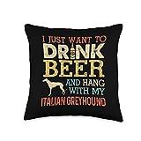 Dog Dad Italian Greyhound Gift Italian Greyhound Dad Drink Beer Hang With Dog Throw Pillow, 16x16, Multicolor