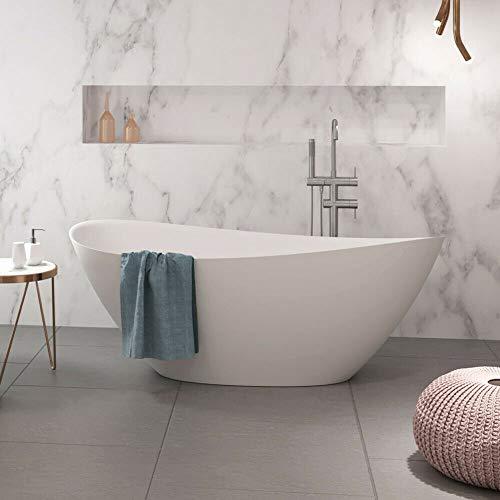 Naka24 freistehende Badewanne aus Mineralguss 170x75x65,8 cm weiss Design VENTI MATT