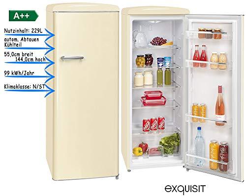 exquisit Vollraumkühlschrank Retro Look Kühlschrank A++ 229 Liter freistehend in fünf Farben (Magnolienweiß)