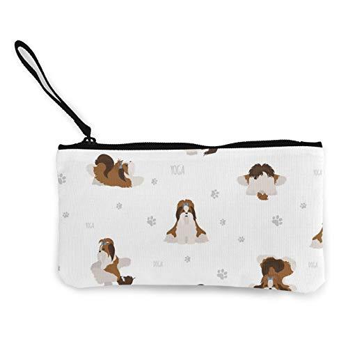 Póster, diseño de perros de yoga, posturas y ejercicios, monedero de lona, bolsa de cosméticos con cremallera, bolsa de teléfono móvil con asa