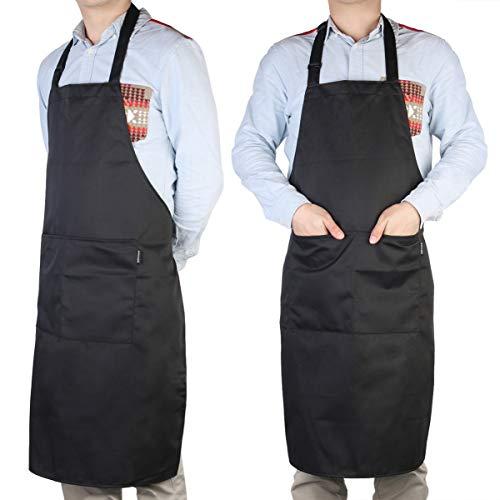 PIXNOR Nero regolabile Chef cucina Bavaglino grembiule con tasche