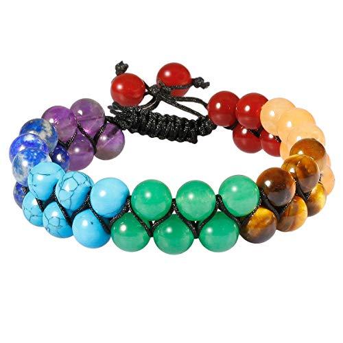 KYEYGWO Mujer Hombre redondo 7 piedras de chakras