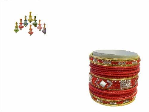 Indische Bangles 21 Armreifen rot Gold 6,5 cm mit Bindis Bollywood Sari Schmuck