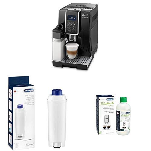 De'Longhi Dinamica ECAM Kaffeevollautomat, schwarz + Wasserfilter, Zubehör für alle De'Longhi Kaffeevollautomaten mit Wasserfilter + EcoDecalk Entkalker | Universal Kalklöser für 4 Entkalkungsvorgänge
