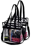 Clear Tote Bag NFL Stadium Approved - 2 PACK - Shoulder Straps and Zippered Top. Perfect Clear Bag for Work, School, Sports Games and Concerts. Meets NFL Tournament Guidelines. (Black)