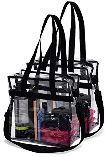 Clear Tote Bag Stadium Approved - 2 PACK - Shoulder Straps and Zippered Top. Perfect Clear Bag for Work, School, Sports Games and Concerts. Meets Tournament Guidelines. (Black)
