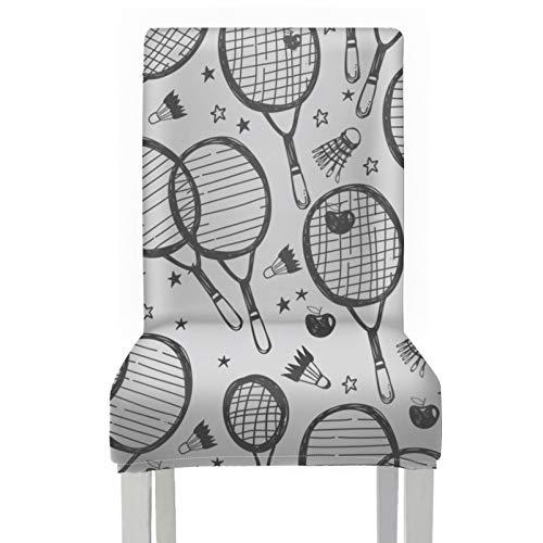 WYYWCY Comedor Fundas largas para sillas de Deslizamiento Raqueta de bádminton y Raqueta de Tenis Fundas Decorativas para sillas de Comedor Fundas de poliéster elásticas extraíbles y Lava