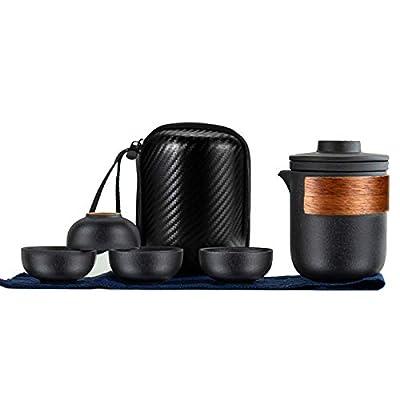 Mini Travel Gongfu Tea Set Chinese Japanese Ceramic Kung Fu Teapot with Four Porcelain Cups Infuser Portable Bag (Black - Medium)