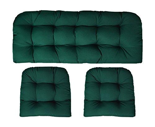 Sunbrella Canvas Forest Green Large 3 Piece Wicker Cushion Set - Indoor / Outdoor Wicker Loveseat Settee & 2 Matching Chair Cushions - Green