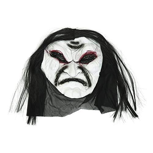Frcolor Orrore spaventoso maschera zombie fantasma cranio forcella mostro maschera con capelli per costume di carnevale Puntelli di Halloween Party