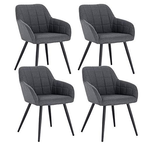 WOLTU 4 x Esszimmerstühle 4er Set Esszimmerstuhl Küchenstuhl Polsterstuhl Design Stuhl mit Armlehne, mit Sitzfläche aus Leinen, Gestell aus Metall, Dunkelgrau, BH107dgr-4