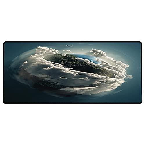 Alfombrilla de ratón para Juegos 600 x 300x3 mm,Tierra, Planeta rodeado de majestuosas Nubes, Espectacular Vista aérea del Medio Ambiente terrest Base de Goma Antideslizante, Adecuada para Jugadores