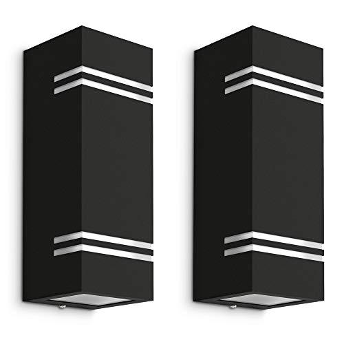 2 Stück schwarze LED Wandleuchte JOVO-L Up & Down - inkl. 4x LED GU10 6W warmweiß - Wandlampe 2-flammig IP44 Schutz für Außen