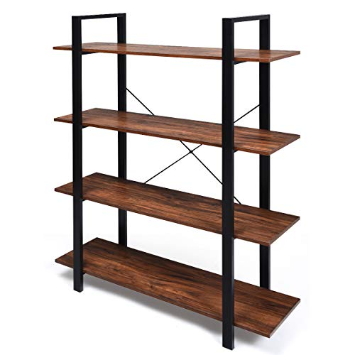 Giantex 4-Tier Bookshelf Industrial Style Bookcase Vintage Wood Bookshelves with Metal Frame, Home and Office Organizer, Storage and Display Rack, Rustic Brown (41.5''Lx 13''Wx 55' H (4-Tier))