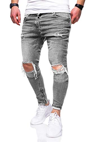behype. Herren Destroyed Jeans-Hose Slim-Fit 80-3299 Hellgrau W32/L32