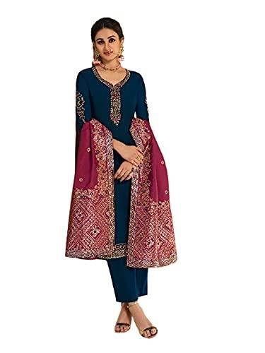 Ready to Wear Teal Indian Festival Traditional Damen Georgette Salwar Kameez Meena Dupatta Set Eid 5852 - - 5X-Large