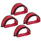 WYJBD 2 Pares Antideslizante Bicicleta Pedales de Banda fijos Equipo de Ciclismo Bandas de Pedales Pies Set Adhesivo Pedal del Dedo del pie del Clip Correa del cinturón (Color : Red)