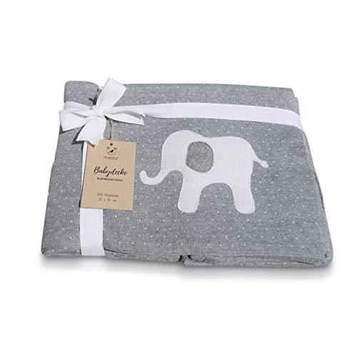 Premium Baby-Decke/Strickdecke, Punkte Elefant, 80x100 cm, 100% Baumwolle, Wolldecke ideal als Erstlings-/ Kuscheldecke, Jungen & Mädchen, Grau Beige - Tolle Größe, super weich