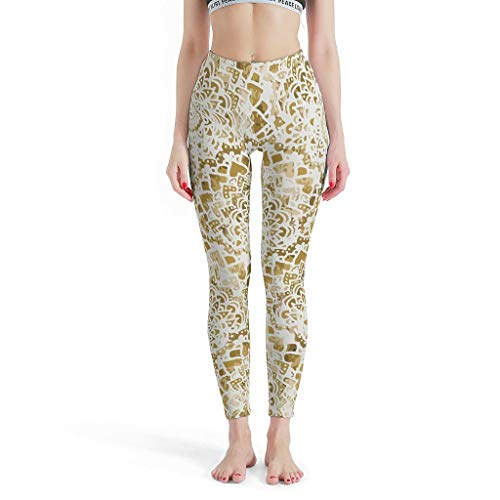 O3XEQ-8 Damen Design Sport Leggings 4-Wege-Stretch-Laufhose High Waist Golden Festival Mandalas Yoga-Hose Laufen Leggings Damen Kurz - Romantic White xs