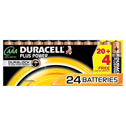 Duracell Plus Power - Batterie Plus Power AAA, 24 pezzi single 24x Duracell Plus Schwarz, Kupfer