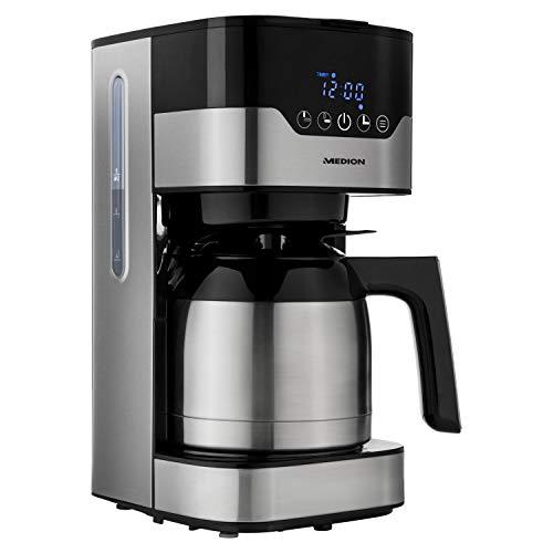 MEDION Kaffeemaschine mit Thermoskanne und Timer (Filtermaschine, 8-10 Tassen, 1,2 Liter, 900 Watt, 3 Stufen, Warmhaltefunktion, Timer Zeitschaltuhr, Antitropf, Display, MD18458) edelstahl