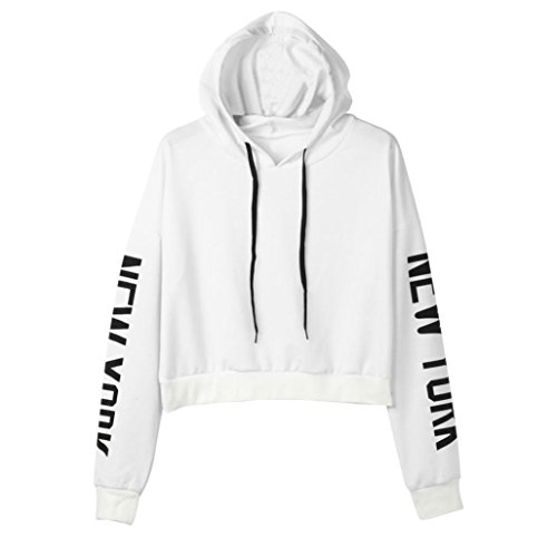 TWIFER Herbst Damen Frauen Langarm Hoodie Buchstaben Sweatshirt Crop Pullover Kapuzenpullover Tops (M, Weiß)
