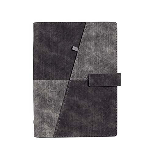 JJH Cuaderno de Trabajo A5 para Oficina, Diario de Cuadernos comerciales con Hebilla de bolígrafo y imán, Escritura Libros Libre de Libros (3 Colores) (Color : Black)