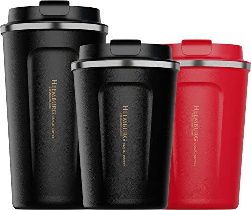 Heemburg Kaffeebecher für unterwegs Coffee-to-go Thermobecher schwarz 350 ml aus Edelstahl mit Doppelwand Isolierung 100% auslaufsicher für Kaffee oder Tee, Schwarz, 350ml