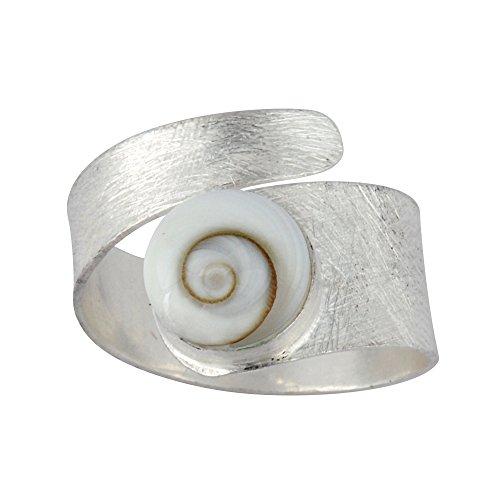 Silverly Frauen .925 Sterling Silber Weiß Shiva Eye Schale Spiralförmig Swirl Satin justierbare Ring
