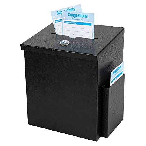 """xydled Wall Mounted Suggestion Box with Lock,Ballot&Donation Box with 50 Free Suggestion Cards,Metal Suggestion Box with Key Lock,Collection Box,Key Drop Box(Black),8.7""""x 5.9""""x7.1""""inch"""