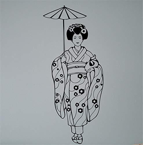 Vinly Art Decal Woorden Citaten Geisha met Paraplu Sticker Aziatische Meisje Japan Art Decor Schoonheid Thuis Interieur voor Woonkamer Meisjes Slaapkamer 23.4x46.8 inch
