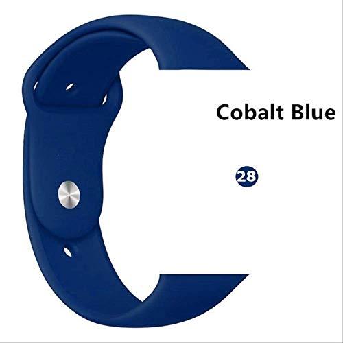 QSJWLKJ Correa para Apple Watch Band Sport Loop Pulsera de Goma Correa de Reloj 42 mm o 44 mm ML Azul Cobalto 28