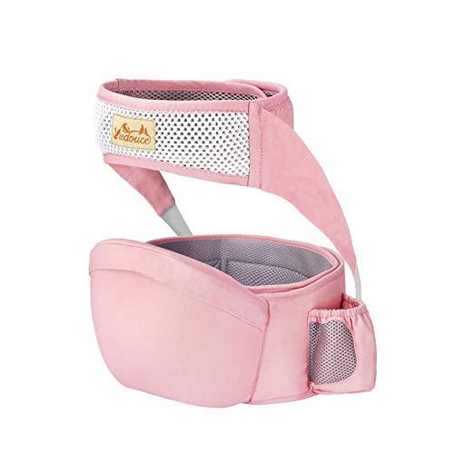 Viedouce Hipseat Marsupio con protezione per cintura di sicurezza,Puro Cotone Leggero e Traspirante,Ergonomico Neonati Marsupio Sicurezza Supporto per Bambino da 6-36 Mesi (Rosa)