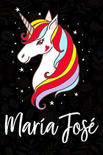 María José: Cuaderno de notas unicornio para niña con nombre personalizado María...