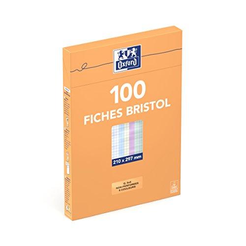 Oxford 100101021 Etui de 100 Fiches bristol non perforées A4 petits carreaux 5 x 5 Couleurs Assorties