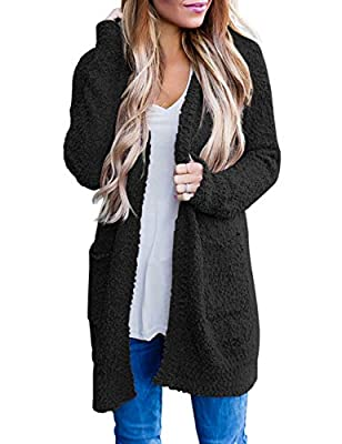 MEROKEETY Women's Long Sleeve Soft Chunky Knit Sweater Open Front Cardigan Outwear with Pockets from