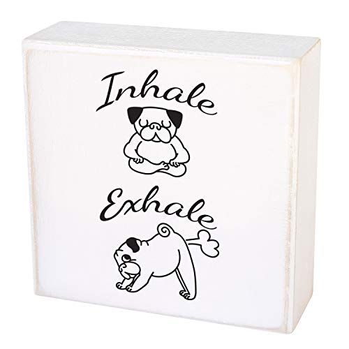 Box Signs for Home Decor by Two Birds. Dog Sign, Dog Lover Gifts - French Bulldog Inhale, Exhale. Home and Office Decor for Dog Lovers, Boxer Dog Gifts - 5 x 5 inch