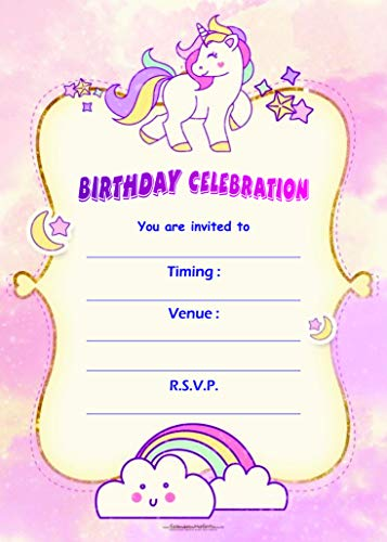 Birthday Metallic Card Invitations with Envelopes - Kids Birthday Party Invitations for Boys or Girls (25 Count) BIC-1017